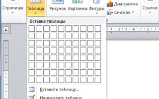 Как сделать таблицу в word 2013?