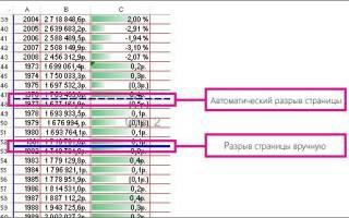 Как сделать разделение страниц в excel?